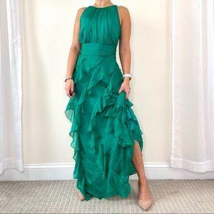 Badgley Mischka Green Silk Ruffle Dress Gown